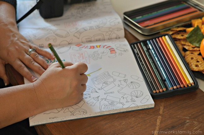 A Colorful Affair Adult Coloring Party coloring in the lines