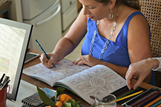 A Colorful Affair Adult Coloring Party coloring with prismacolor pencils