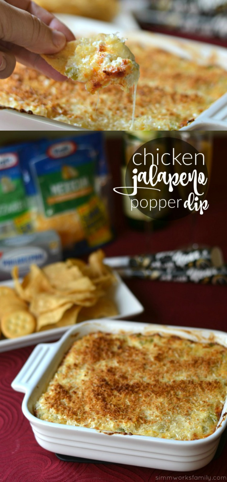 This creamy chicken jalapeno popper dip is the perfect appetizer for New Year's Eve and is sure to be a crowd pleaser!