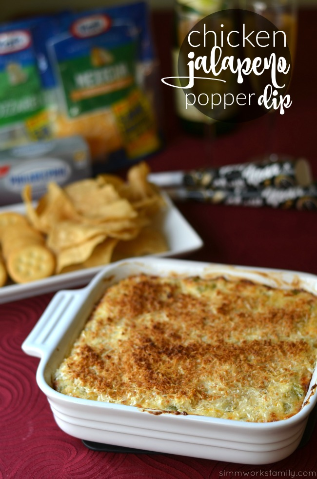 Creamy Chicken Jalapeno Popper Dip - the perfect NYE appetizer