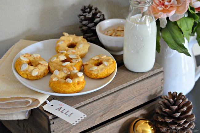 Keto Friendly Pumpkin Donuts - perfect with a glass of almond milk