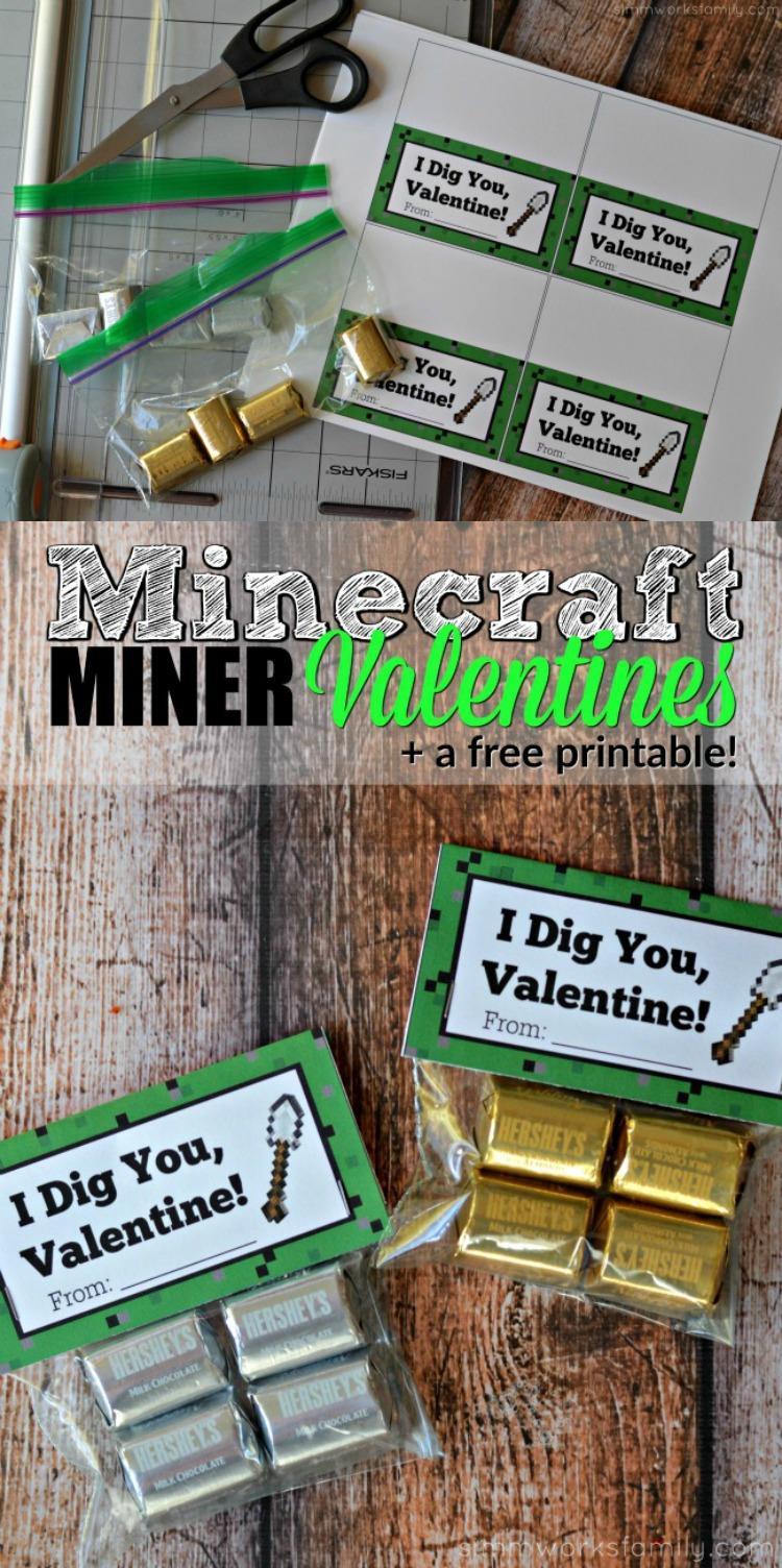 Minecraft Miner Valentine Printable,  Minecraft Valentine's Day Miner Printable, Minecraft Printable, Minecraft Valentine