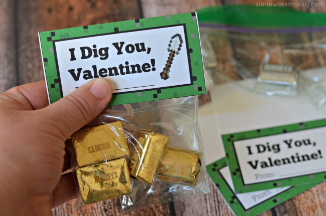 Minecraft Miner Valentine Printable - I Dig You Valentine