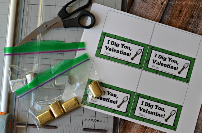 Minecraft Miner Valentine Printable supplies