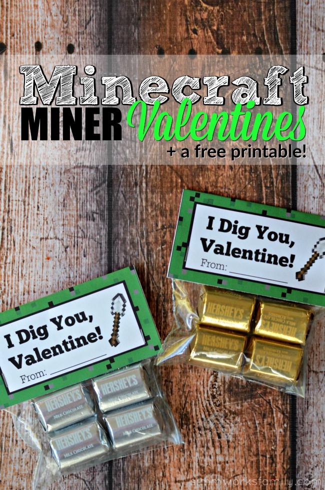 Minecraft Miner Valentine Printable