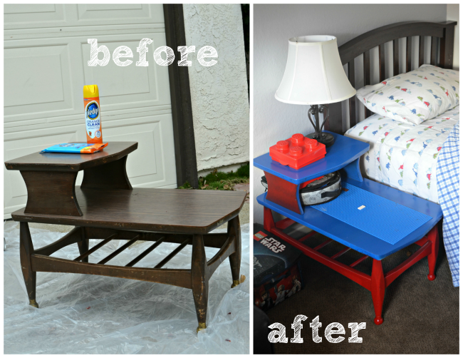 DIY Lego Side Table before and after