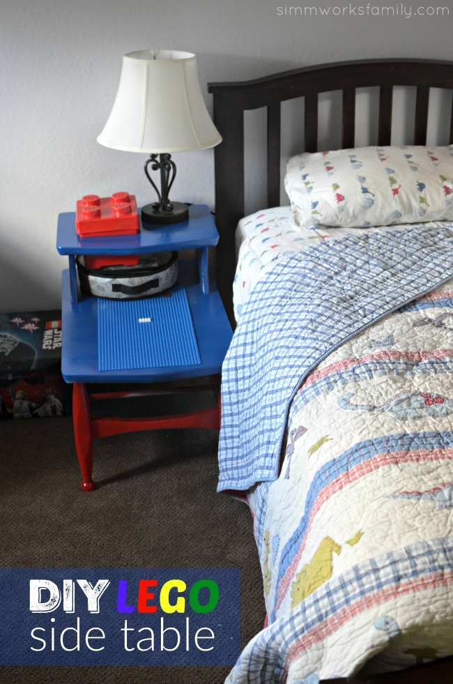 DIY Lego Side Table - the perfect addition for a LEGO loving boy room