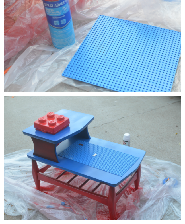 DIY Lego Side Table - use spray adhesive to secure square lego pad