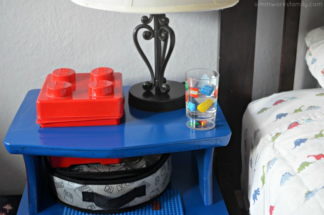 DIY Lego Side Table - with room for lamp and water glass