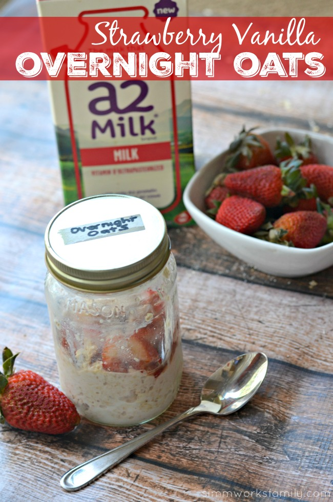 Strawberry Vanilla Overnight Oats - a quick and easy breakfast for busy mornings