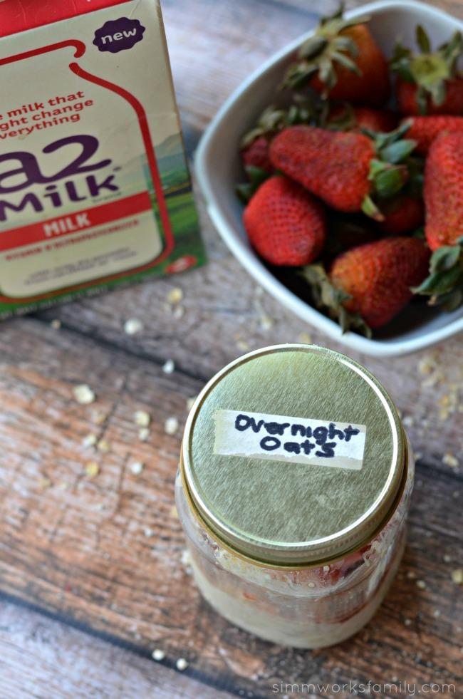 Strawberry Vanilla Overnight Oats in a mason jar