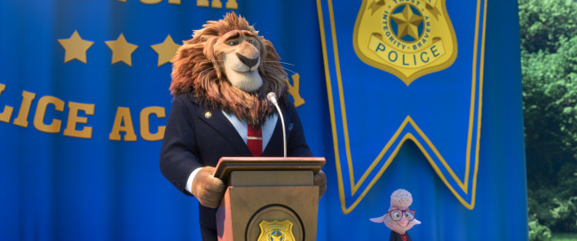 ZOOTOPIA – Pictured (L-R) Mayor Lionheart, Assistant Mayor Bellwether. ©2016 Disney. All Rights Reserved.