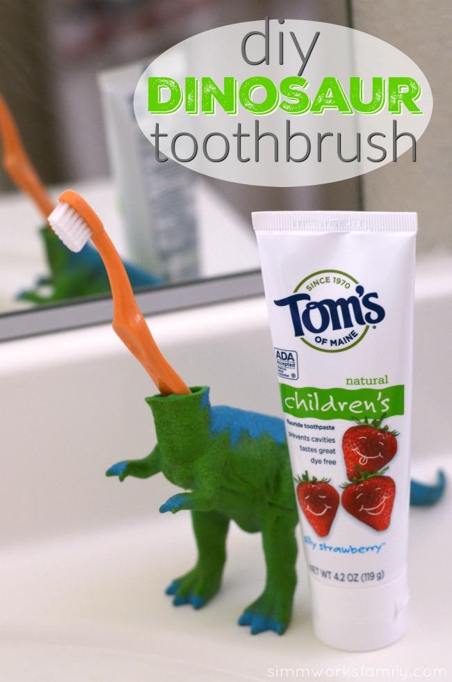 DIY Dinosaur Toothbrush - an easy way to make brushing teeth fun