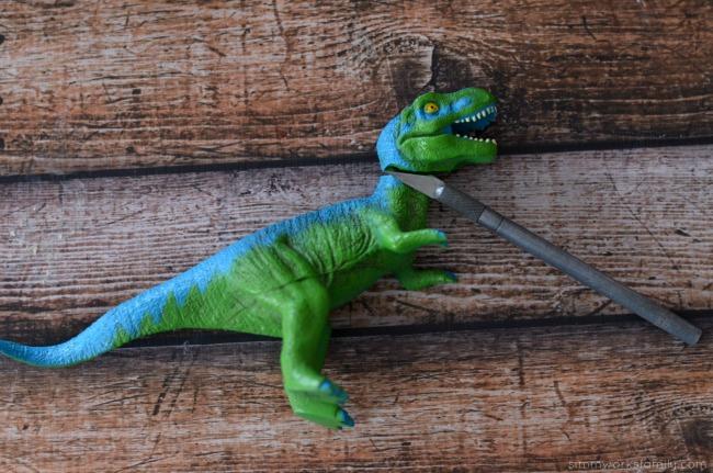 DIY Dinosaur Toothbrush - cut off dinosaur's head
