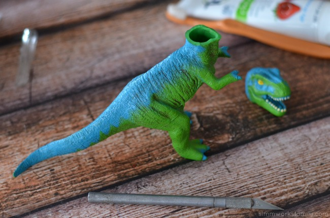 DIY Dinosaur Toothbrush - even out cut