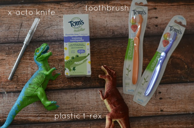 DIY Dinosaur Toothbrush supplies