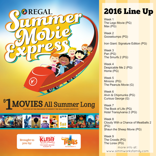 $1 Movies for 2016 Summer Movie Express