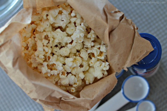 Homemade Microwavable Ranch Popcorn in a Bag ready to enjoy