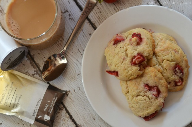 Strawberry Black Pepper Scones and a Chai Latte for breakfast