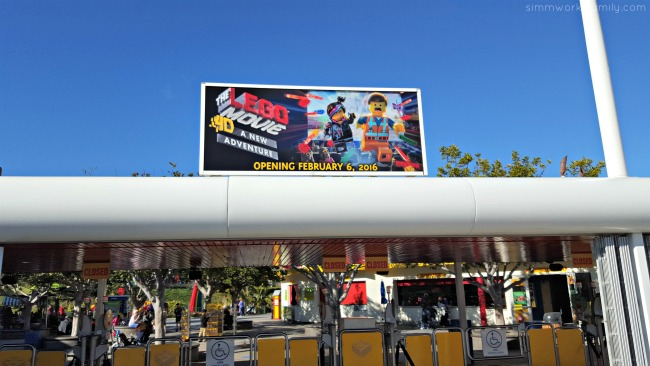 The LEGO Movie 4D A New Adventure at Legoland CA sign at entrance