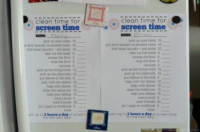 Trading Clean Time for Screen Time This Summer free chore chart printable