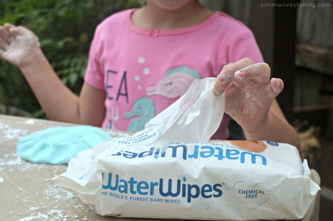 2-Ingredient Silly Putty clean up with Water Wipes
