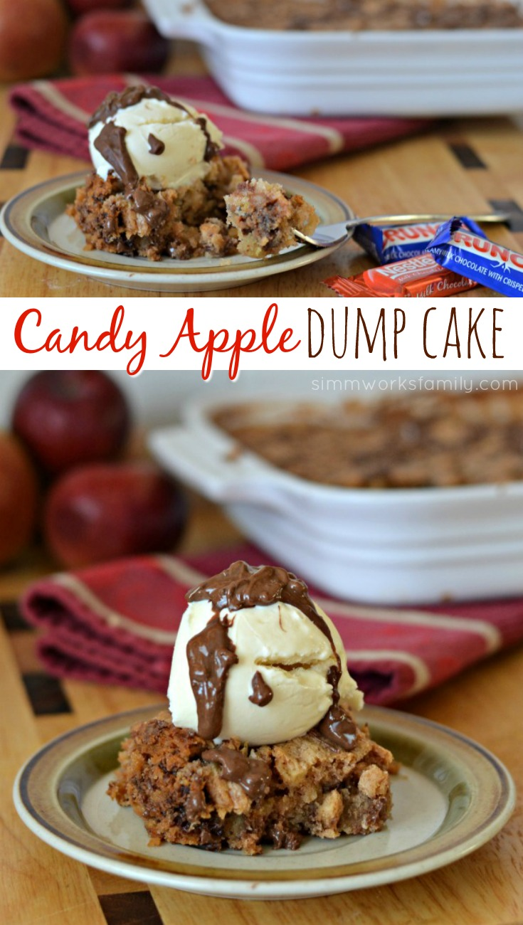 This candy apple dump cake recipe is the perfect fall dessert to use up all of your apples! Plus, it's a one dish dessert that includes chocolate. Yum!