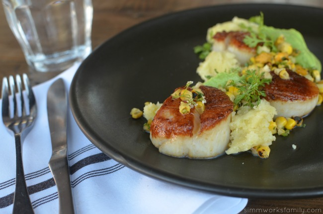 double-standard-u-ten-scallops-with-charred-corn-salsa-avocado-citrus-coriander-and-a-corn-blanket