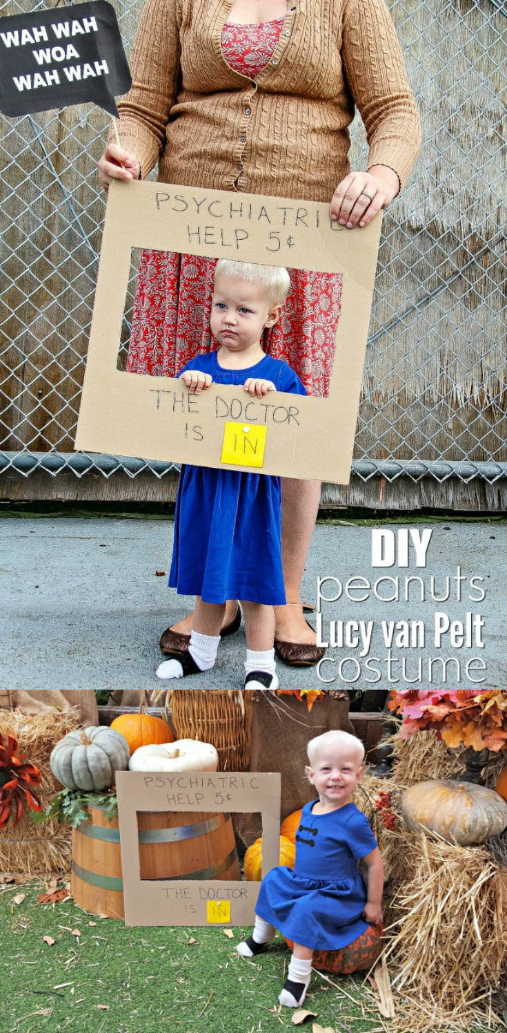 If you're in need of a simple DIY costume for your child (or yourself) look no further then this DIY Lucy van Pelt costume! With a simple blue dress, some black felt, and some glue, you can have a costume put together in minutes.