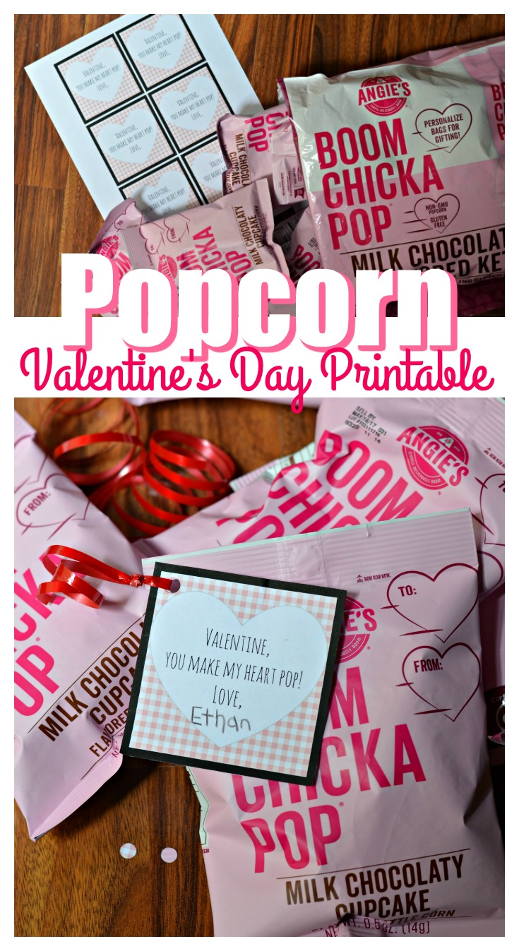 How cute is this Popcorn Valentine's Day Printable? Super easy to put together + a gluten free snack!