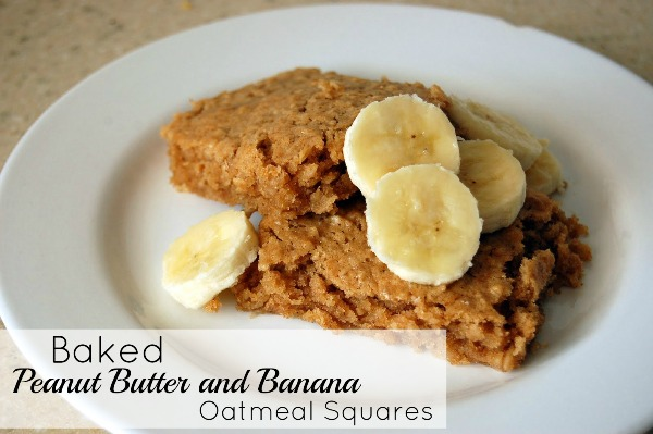 Baked Peanut Butter and Banana Oatmeal Squares Breakfast Recipe | A ...