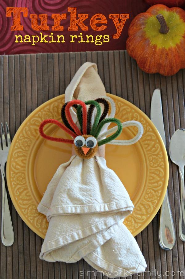 kids crafts turkey napkin rings for thanksgiving a. Black Bedroom Furniture Sets. Home Design Ideas