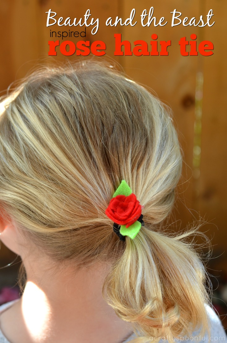 Learn how to make this easy DIY Rose Hair Tie inspired by Beauty and the Beast in less than 5 minutes!