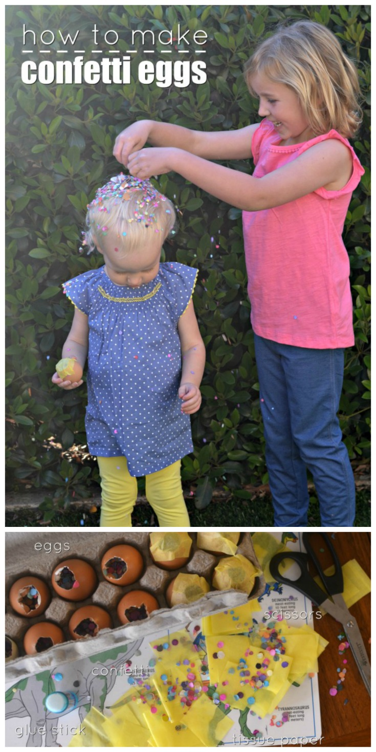Learn How To Make Confetti Eggs + check out these cute Easter outfit Ideas for maximum cuteness and comfort for the kids