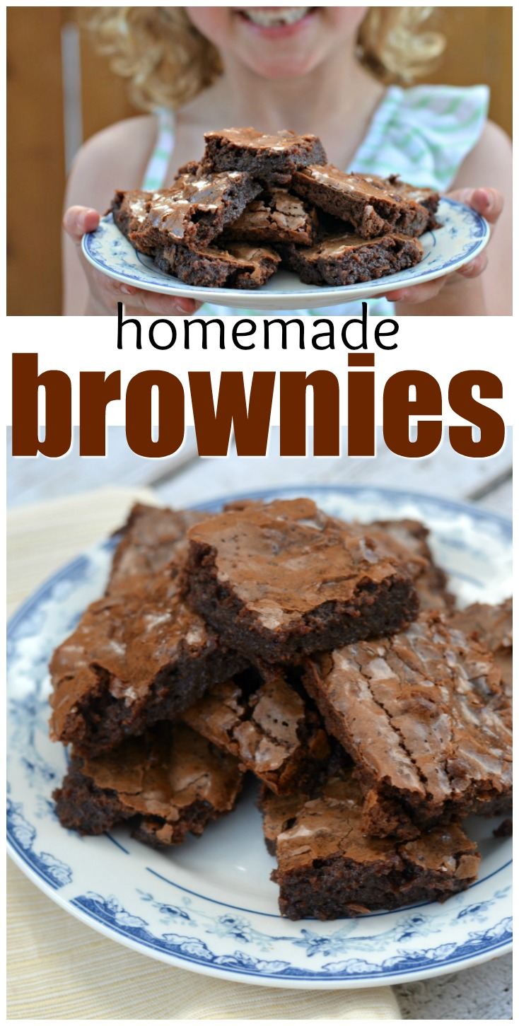 These classic homemade brownies are the perfect dessert to let the kids help make! They'll love mixing, cracking eggs, and baking from scratch.
