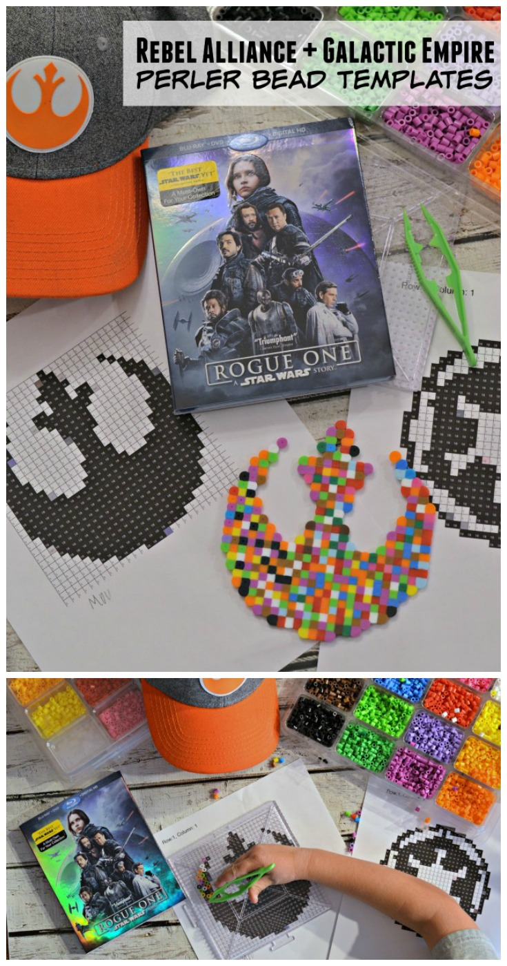Use these Rogue One Rebel Alliance and Galactic Empire Perler Bead Templates to show the world if you're on the dark side or the light side and see if your true Jedi comes out!