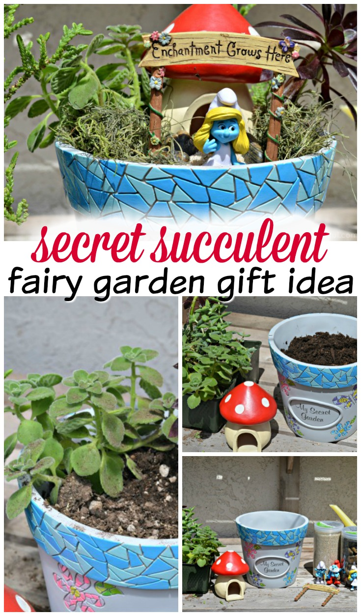 This secret succulent fairy garden would make a perfect gift for Mother's Day or any other special occasion. Plus, it's super easy to put together when you have the right tools!