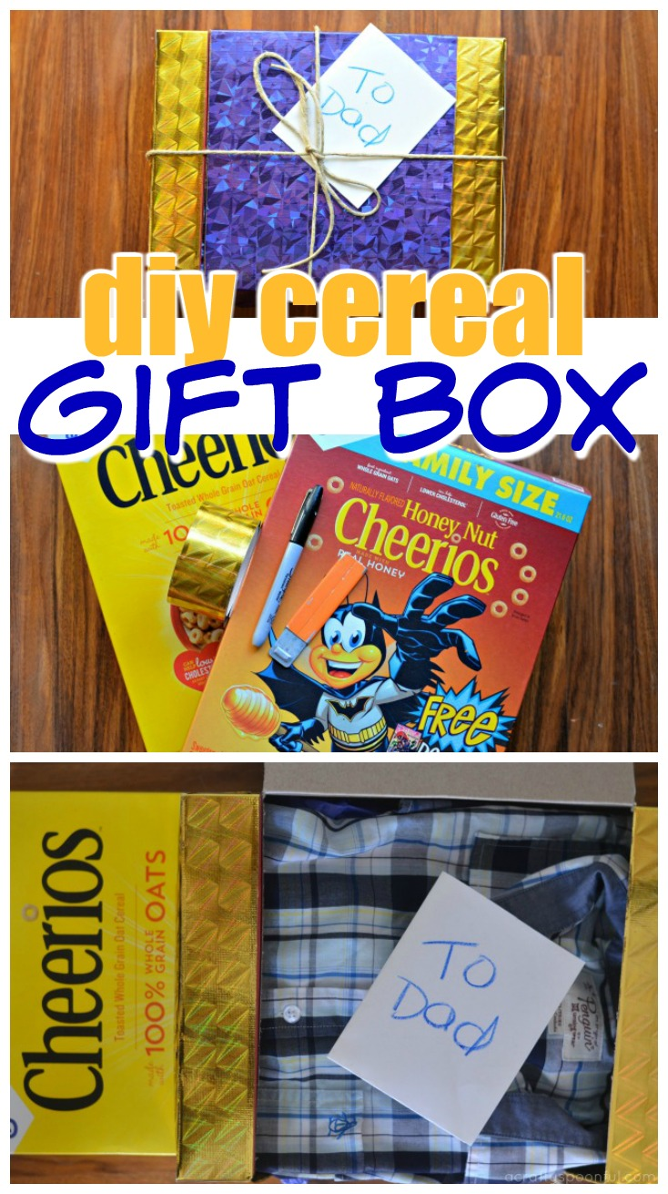 This DIY cereal gift box idea is a great way to wrap up any gift AND upcycle those cereal boxes you have laying around!