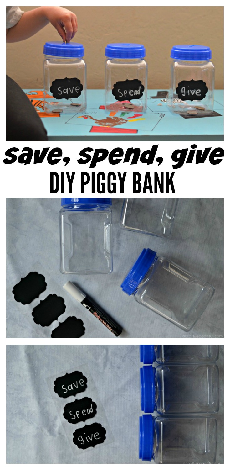We're sharing how to teach kids to be SMART savers plus an easy DIY Save Spend Give Piggy Bank for them to make for their earnings.
