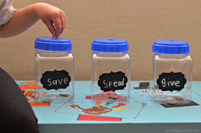 We've been on and off the Dave Ramsey wagon for years now, but one thing I've always loved and wanted to implement for the kids was the idea of Save, Spend & Give Jars.