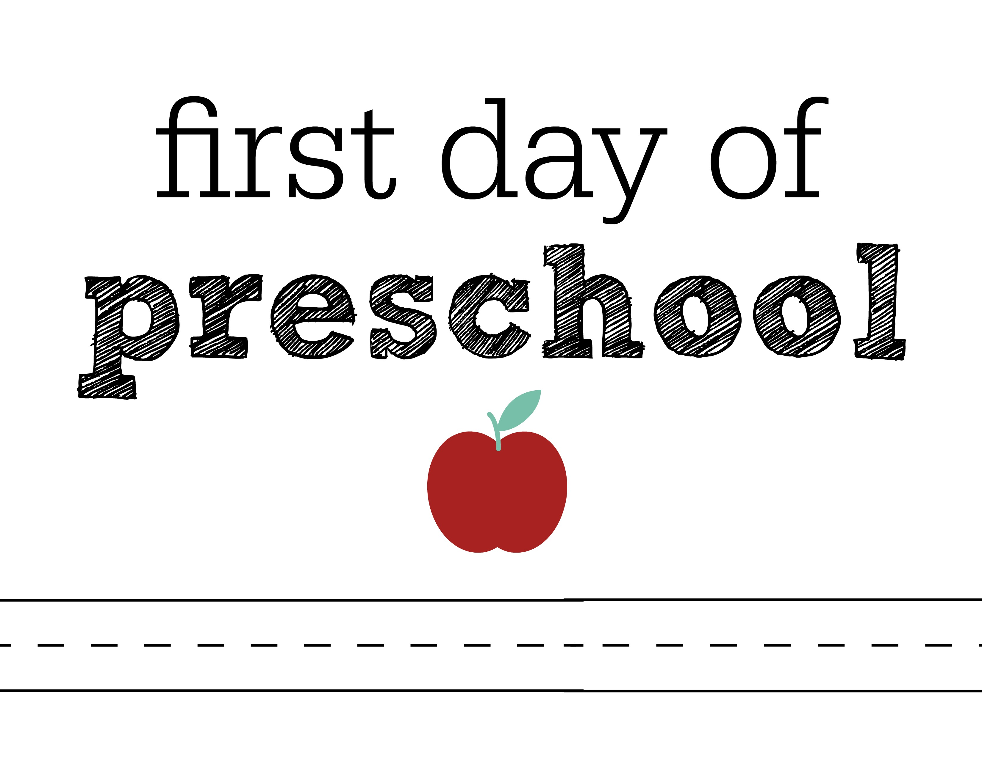It is a graphic of Clean First Day of Preschool Printable Sign