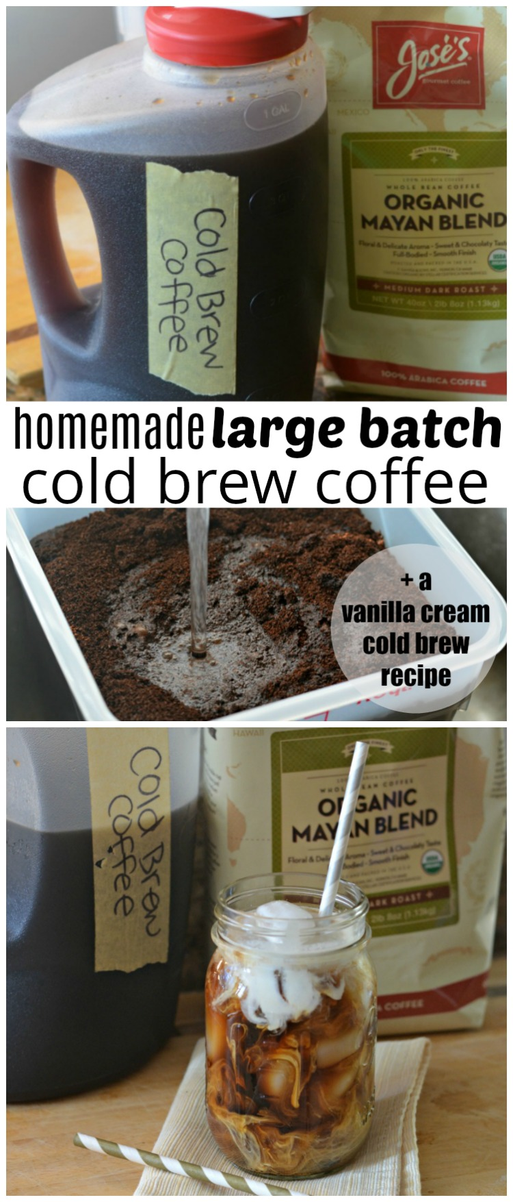 Try out the best homemade vanilla cream cold brew coffee recipe + learn how to make large batch cold brew coffee!
