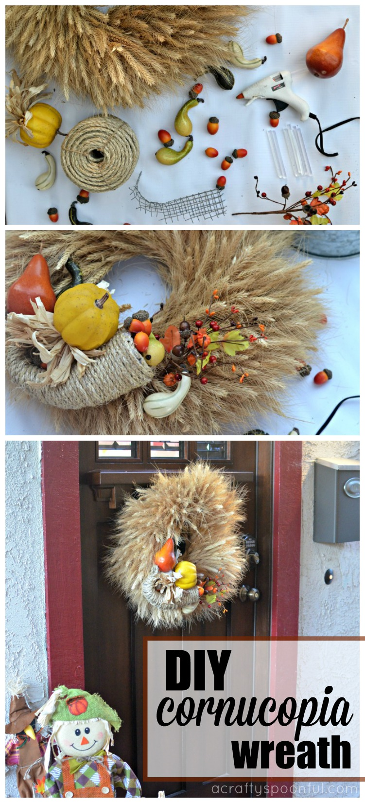 Spruce your front door up with these easy DIY Thanksgiving door decorations and a simple DIY Cornucopia Wreath. AD