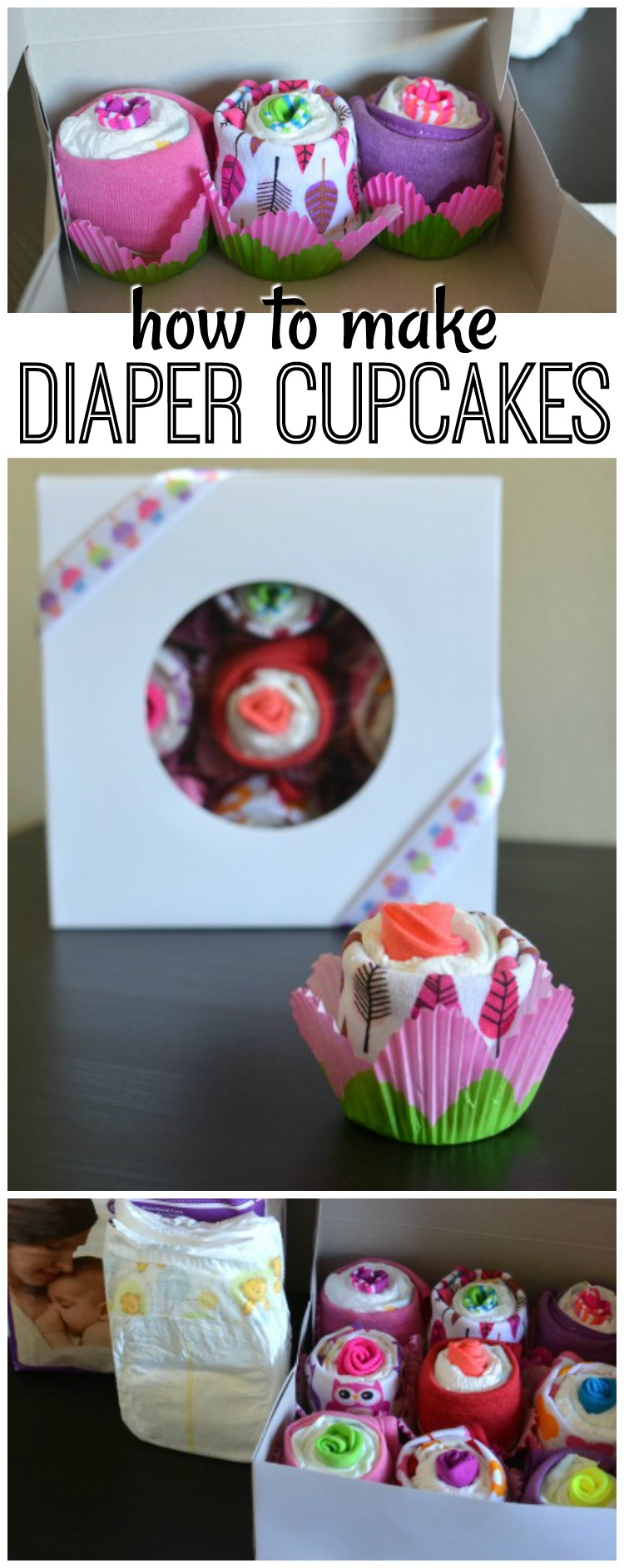 This tutorial on how to make diaper cupcakes is not only easy but easy on the budget! It's the perfect gift to accompany a registry item for a baby shower.