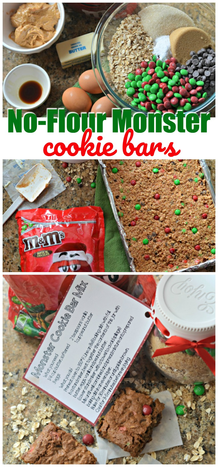 We've whipped up these deliciously satisfying No-Flour Monster Cookie Bars and are sharing how you can create your own Monster Cookie Bar Mix to gift to friends this holiday season AD