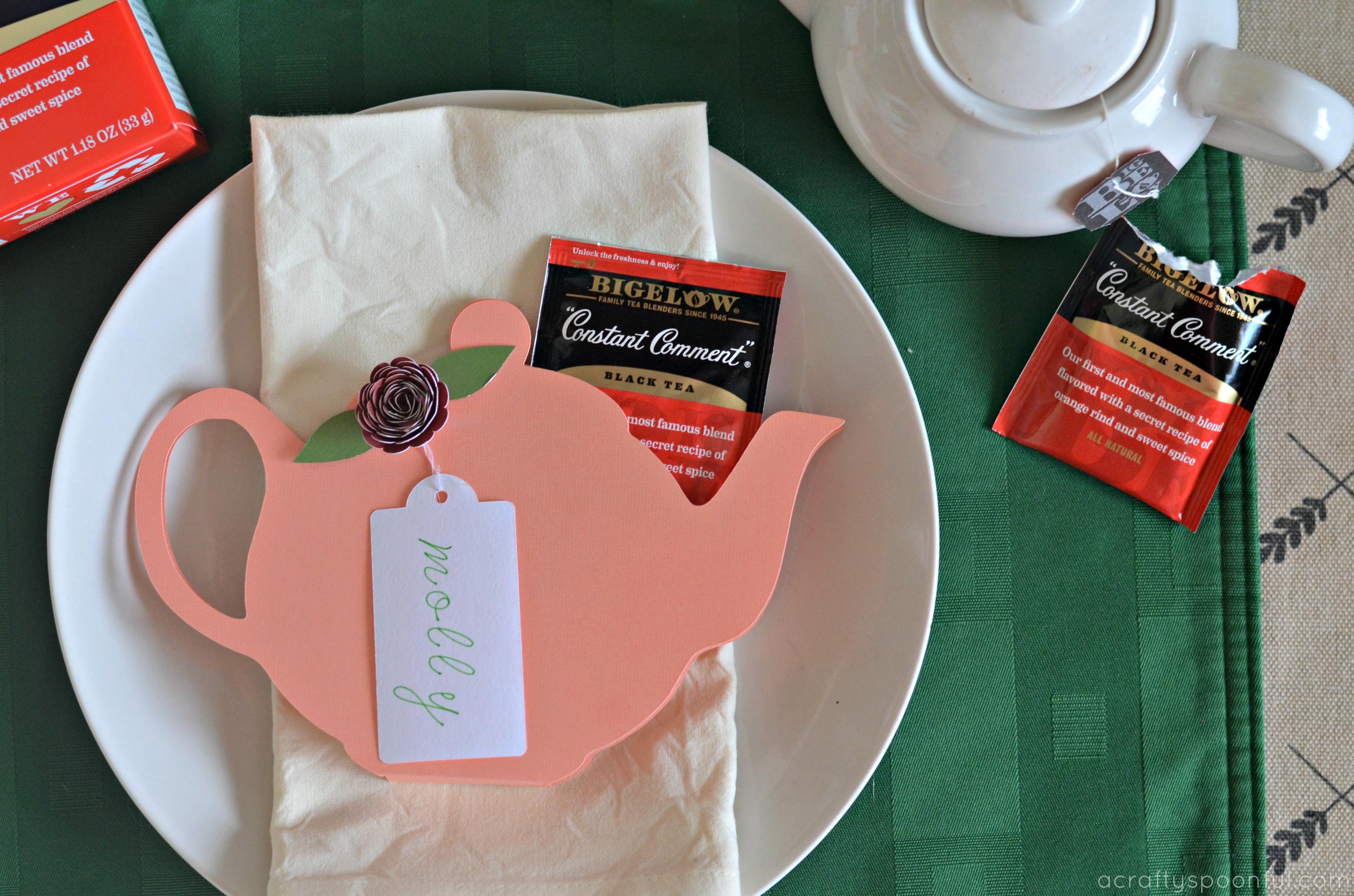 Tea Party Theme Ideas: Tea Pot Place Card Printable