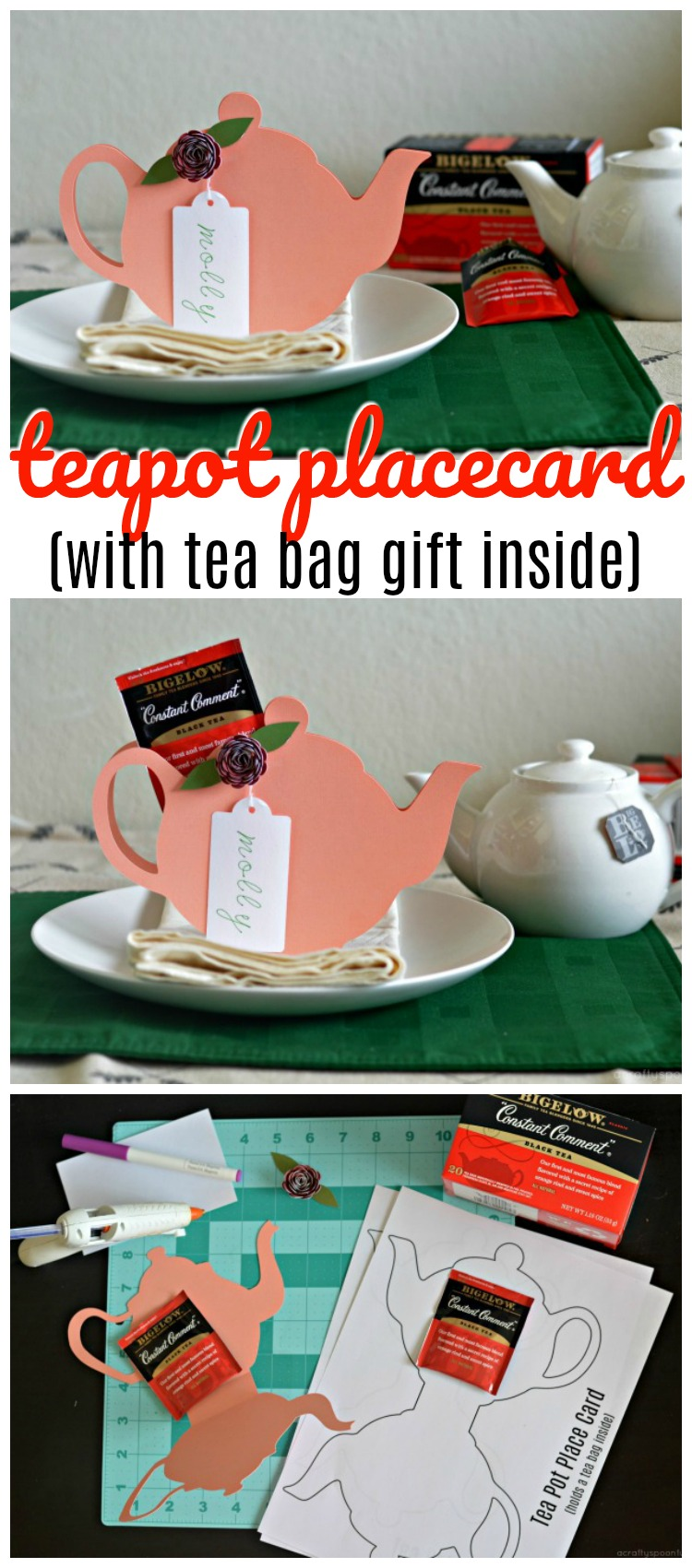 Looking for fun tea party theme ideas? This tea pot place card printable is the perfect way to decorate a table for a special tea! AD