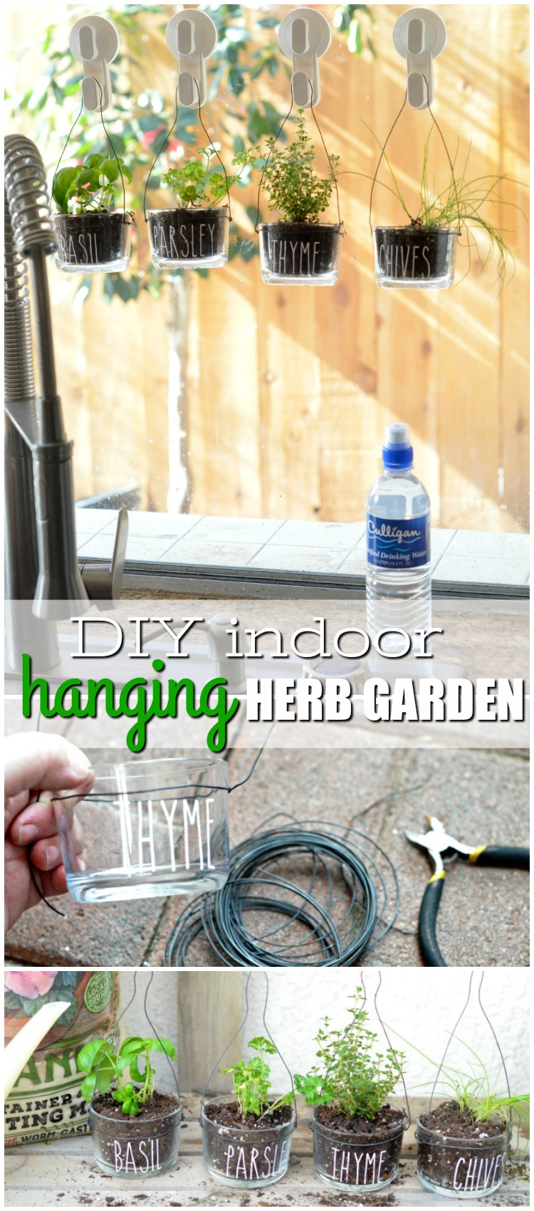 This DIY Indoor Hanging Herb Garden is the perfect way to bring the garden indoors! Plus you'll have fresh herbs for whatever you're whipping up for dinner.
