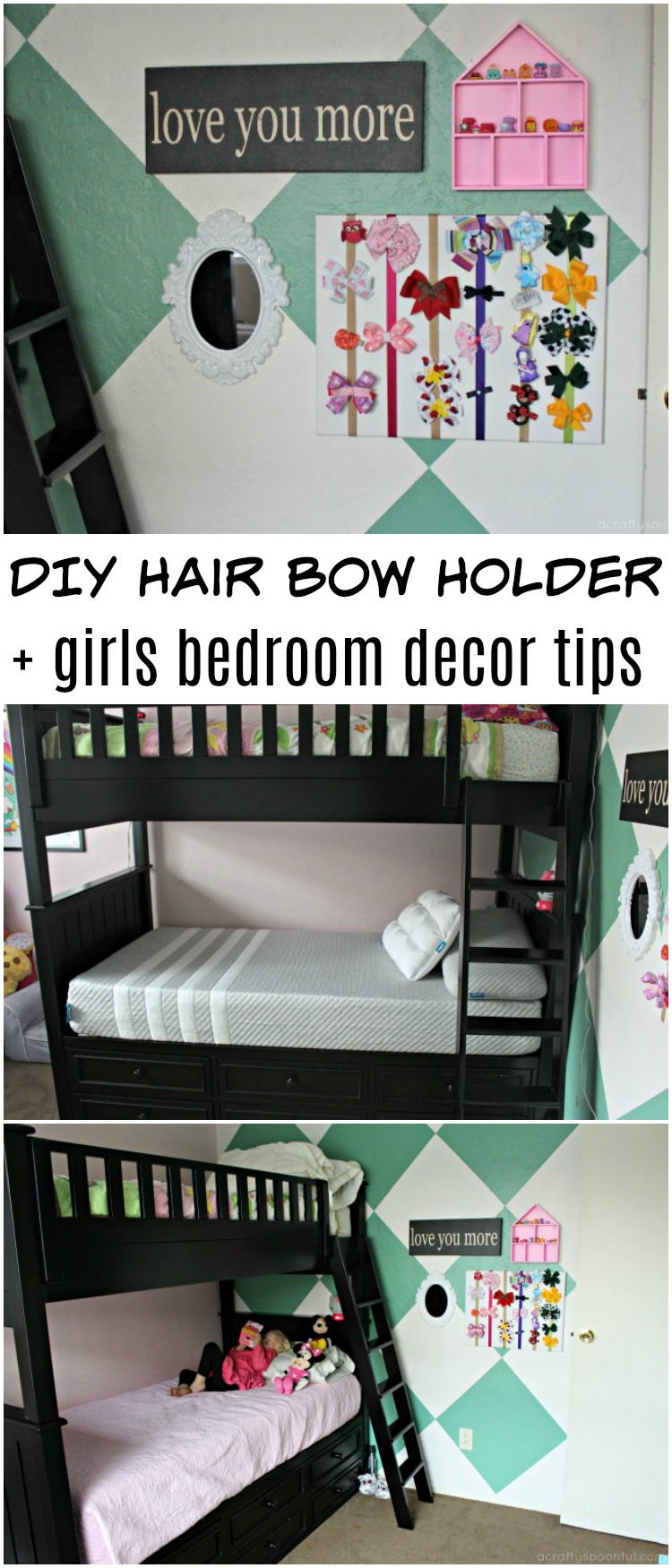 Are you looking for fun ways to spruce up your girls' room? Transfering from little girl room to big girl room? We're sharing simple bedroom decor ideas on a budget and are sharing a fun and easy DIY hair bow holder to store all of your girl's bows. AD