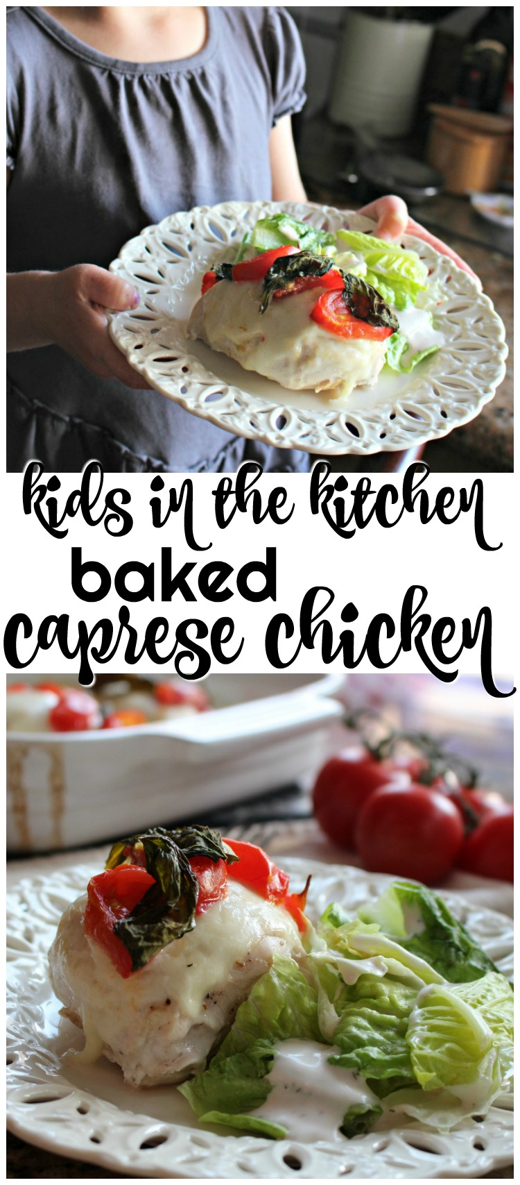 This baked caprese chicken is full of fresh flavor straight from the garden! And our 3 year old helped prepare the dish from start to finish. AD